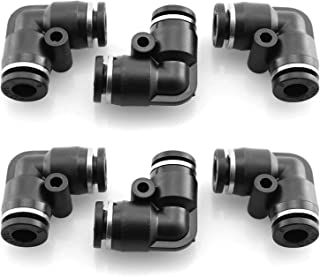 DGZZI Pneumatic Elbow Connect 6PCS Plastic PV-1//4 Pneumatic Elbow Union Quick Release Push in to Connect Fitting Tube