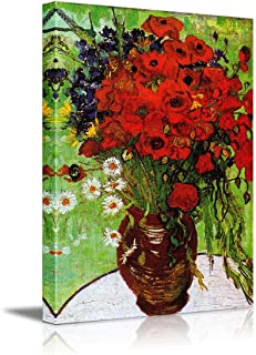 wall26 Red Poppies and Daisies by Vincent Van Gogh - Oil Painting Reproduction on Canvas Prints Wall Art, Ready to Hang - 24