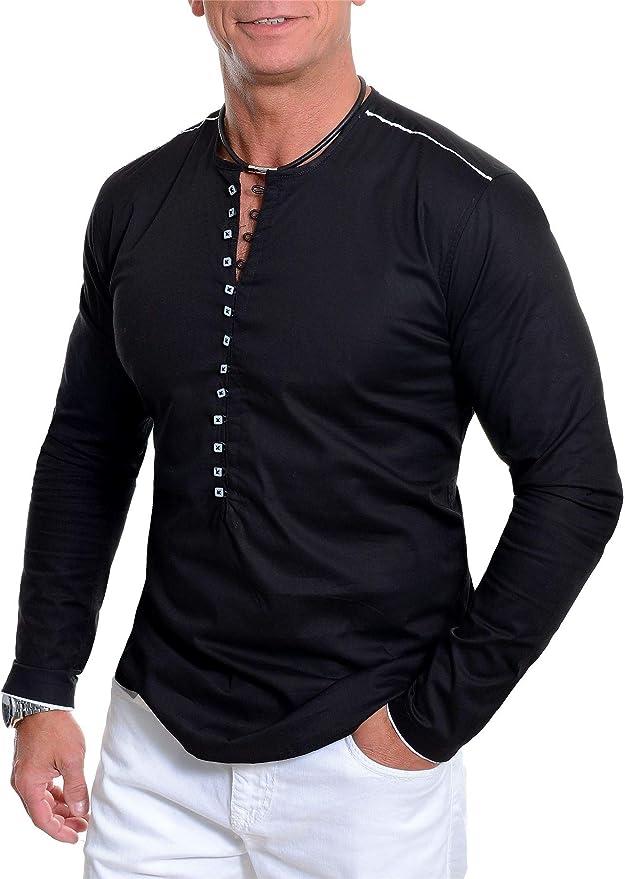 Camisa sin Cuello de los Hombres Cuello Redondo Manga Larga bucles de Botones