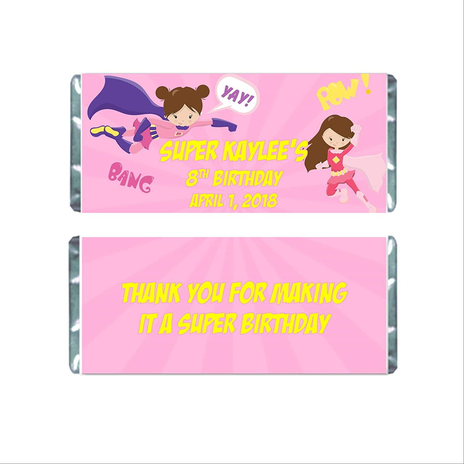 Super Hero 100% quality warranty! Girl Birthday Personalized Max 84% OFF Candy Cho Bar for Wrappers