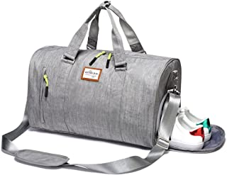 Duffle Bag Sports Gym Travel Luggage Including Shoes Compartment (Grey)