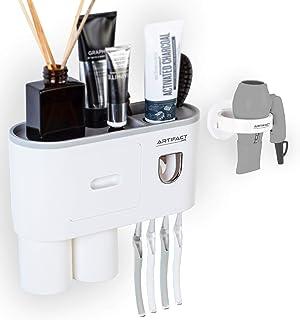 Artifact Dots Toothpaste Dispenser, Hair Dryer Holder Bundled, Multifunctional Toothbrush Holder Wall Mounted, Toothbrush ...