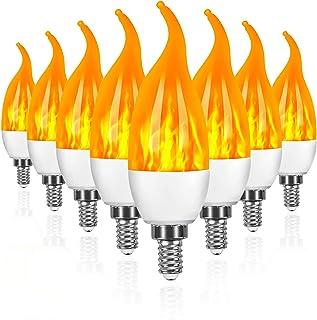 swonuk Pack de 8 Bombillas 3W E14 Bombillas de Efecto de llamas LED con Sensor de Gravedad para Decoración de Navidad /Bar/Fiesta