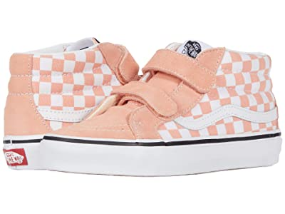 Vans Kids SK8-Mid Reissue V (Little Kid) ((Checkerboard) Salmon/True White) Girls Shoes