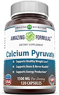 Amazing Nutrition Calcium Pyruvate Supplement * 1500 mg Per Serving of 2 Capsules * 120 Capsules per Bottle * Best Supplements for Healthy Weight Management & Energy Support Plus Bone & Nerve Health