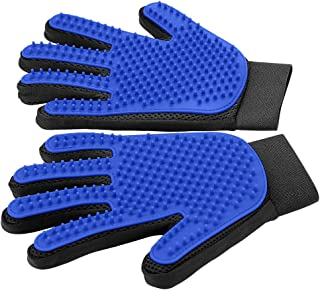 [Upgrade Version] Pet Grooming Glove - Gentle Deshedding Brush Glove - Efficient Pet Hair Remover Mitt - Enhanced Five Finger Design - Perfect for Dog & Cat with Long & Short Fur - 1 Pair
