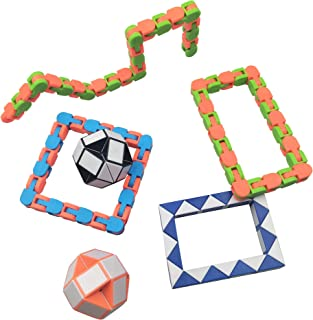 Wacky Tracks and Magic Snake Cubes Twist Puzzle Funny Finger Fidget Stress Reliever Best Sensory Toys for Party Favors 6PCS