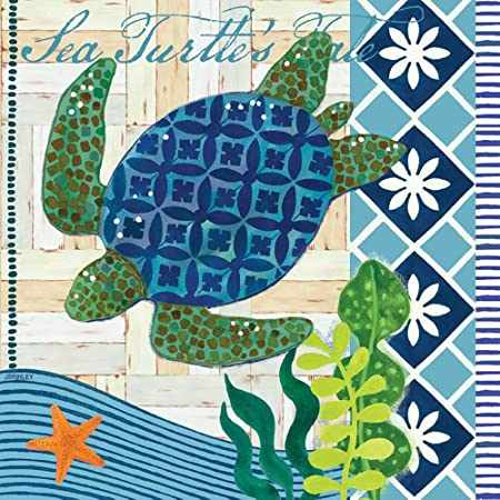 Amazon Com Boston International Ihr 3 Ply 20 Count Cocktail Beverage Paper Napkins 5 X 5 Inches Aquaworld Waterturtle Cocktail Napkins