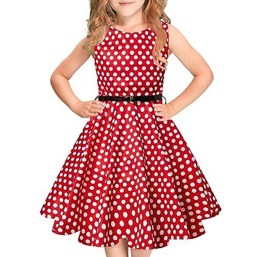Idgreatim Girls Sleeveless Vintage Dress Rockabilly Floral Print Swing Party Dresses