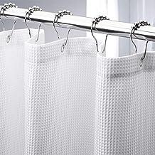 AmazerBath Waffle Shower Curtain, Heavy Duty Fabric Shower Curtains with Waffle Weave Hotel Quality Bathroom Shower Curtai...