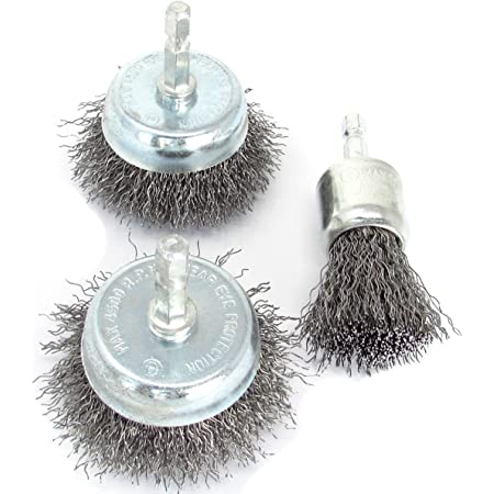 12PCS Set Drill Wire Wheel Brushes Flat Crimped Steel Drills Attachment Brushes