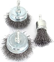 3pk Wire Brush Set Attachments for Drill, 1/4-inch Hex Shank