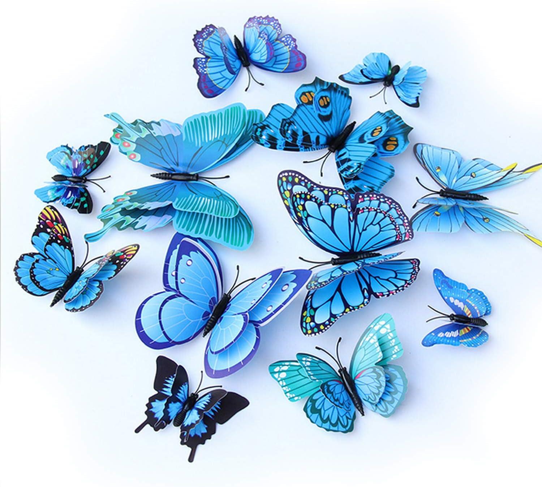 ViViKaya Mariposas Decorativas 3D, 24 piezas de calcomanías de pared con forma de mariposa, decoraciones, decoración de arte DIY, mariposa, para el hogar, bricolaje, habitación de bebé, fiesta (azul)