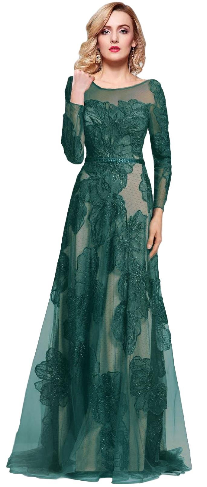 Meier Womens Illusion Embroidery Evening