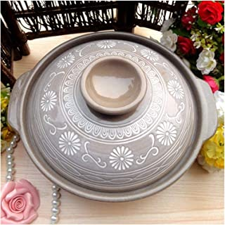 Cooking Pot Ceramics Donabe Japanese Hot Pot,Heat-Resistant Round Casserole with Lid,Pottery Bank Earthenware Clay Pot,Non...