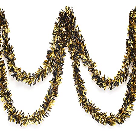Gold and Silver Metallic Tinsel Twist Garland 4 inches Wide x 25 ft Long