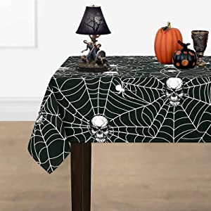Halloween Tablecloth, Spider Web and Skull Table Cloth, Cobweb Scary Themed Tablecloths, Waterproof Spillproof Tablecover for Dinner Party Decoration, Black, Rectangle 60 x 84 Inch