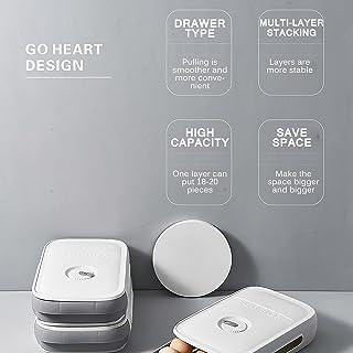 OurLeeme Boîte de rangement pour œufs - Avec tapis antidérapant et rappel de la date pour réfrigérateurs, congélateurs, ar...