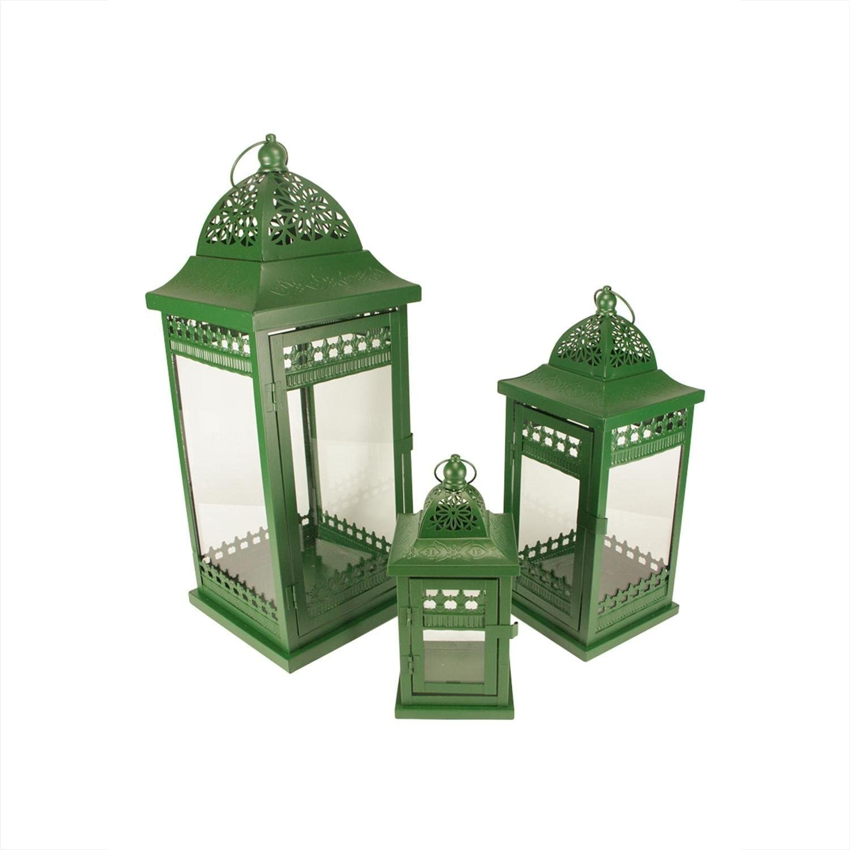 Christmas Central Set of 3 Green Garden Pillar Ornate Getaway Finally popular Time sale brand Ca