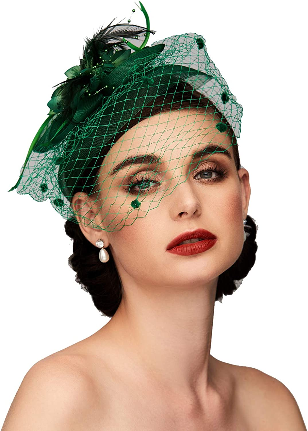 Feather Net Kentucky Derby Hat Fascinators Headpiece Wedding Special Occasion with Birdcage Veil Floral Flower (Green)