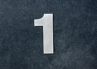 Numero 1, adhesivo,120mm, acero inoxidable AISI 316, casa, portal y
