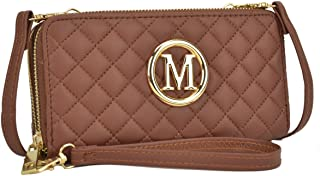 Women Small Crossbody Bag Cellphone Purse Soft Quilted Emblem Double Layer Zip Around Wallet w/Shoulder and Wristlet Strap (1050-Brown)