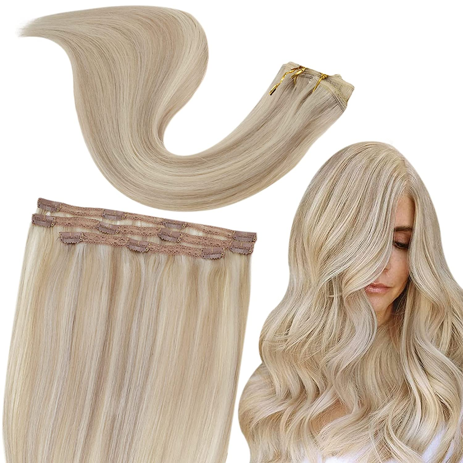 RUNATURE Blonde Max 73% OFF Popular standard Hair Extensions Clip D in Color Human 18P60