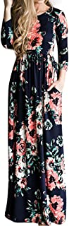 Women's 3/4 Sleeve Floral Dress Casual Stretch Maxi Long Dresses