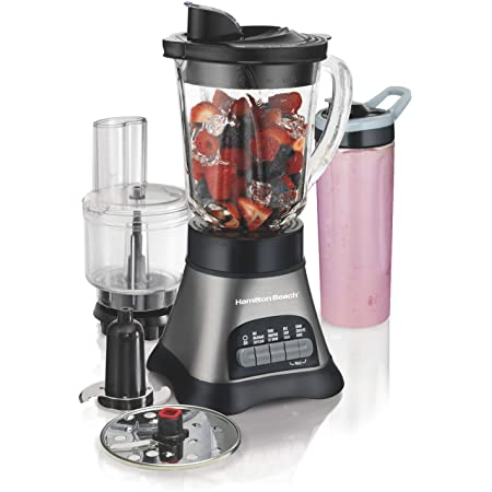 Hamilton Beach Wave Crusher Blender with 40oz Jar, 3-Cup Vegetable Chopper, and Portable Blend-In Travel Jar for Shakes and Smoothies, Grey & Black (58163)