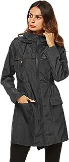 AKEWEI Women Lightweight Raincoat Waterproof Trench Coat Windbreaker Hiking Rain Jacket Breathable Summer Coat