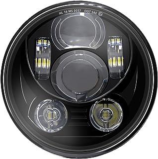 "Wisamic 5-3/4"" 5.75"" LED Headlight - Compatible with Harley Davidson Dyna Street Bob Super Wide Glide Low Rider Night Rod Train Softail Deuce Custom Sportster Iron 883-Black"