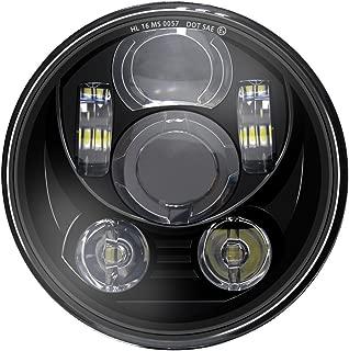 WISAMIC 5-3/4 5.75 inch LED Headlight - Compatible with Harley Davidson Dyna Street Bob Super Wide Glide Low Rider Night Rod Train Softail Deuce Custom Sportster Iron 883-Black