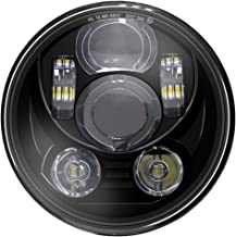 Wisamic 5-3/4 faro LED de 5,75 pulgadas Compatible con Harley Davidson Dyna Street Bob Super Wide Glide Low Rider Night Rod Train Softail Deuce Custom Sportster Iron 883-Black