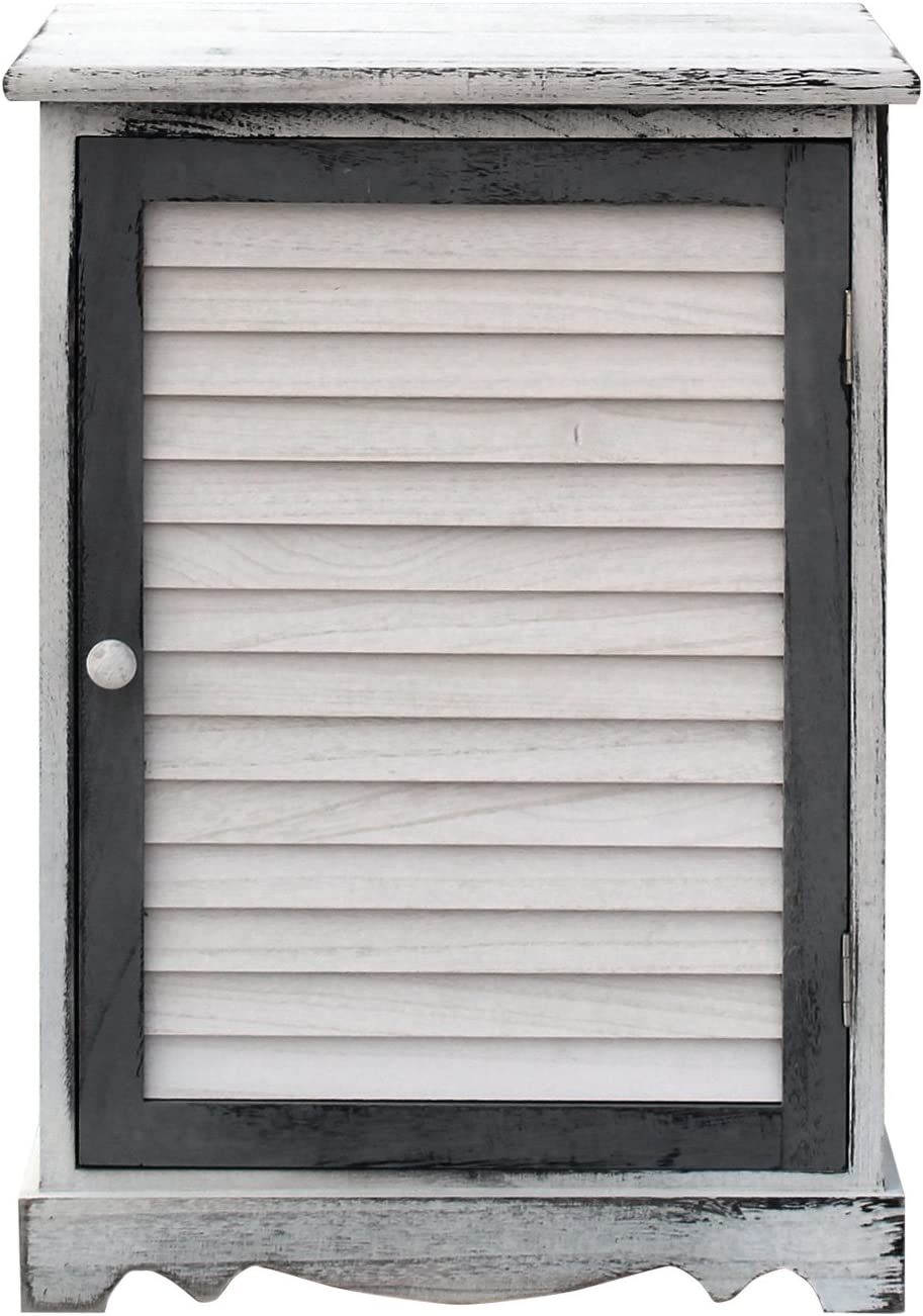 Rebecca Mobili Mesita de noche, armario con 1 puerta, estilo retro, blanco gris, baño, dormitorio, decoración hogar- Medidas: 58 x 42 x 32 cm ( AxANxF) - Art. RE6078