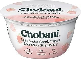 Chobani Less Sugar Greek Yogurt 5.3 ounce (Pack of 12) (Monterey Strawberry)
