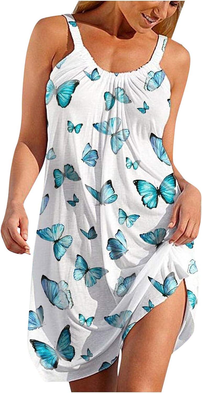 Qunkii Casual Summer Dresses for Women Beach, Boho Floral Sundress Sleeveless Crew Neck Dress Sexy Swing Mini Dresses