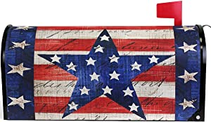 Granbey Vintage Patriotic Star America Flag Mailbox Cover Magnetic Custom Decor Colorful Painting Wraps Post Letter Box for Outside Garden Yard Home Standard Mailbox 25.5x21 in
