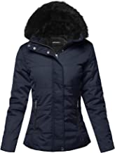 Awesome21 Women's Solid Casual Fur Hooded Thicken Quilted Outwear Jacket