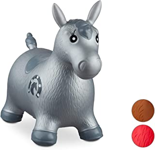Relaxdays- Saltador Hinchable Caballo para Niños hasta 50 Kg sin BPA, Plástico, Color gris, 48 x 26 x 58 cm (10024991_111) , color/modelo surtido