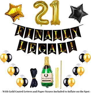 21st Birthday Kit FINALLY LEGAL BANNER 10 Black,10 White and 10 Gold Balloons With a Bottle of Champagne balloon for FREE We also include a 21st Gold Balloon Plus a Black and Gold STARS A Perfect GIFT