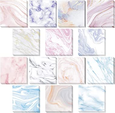 Epakh 14 Pieces Marble Sticky Notes Assorted Marble Note Pads Self-Adhesive Memo Pads for Reminders Studying, Office School H