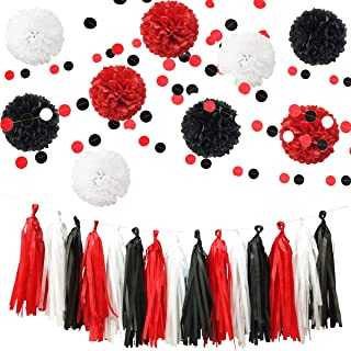InBy 23pcs Mickey Mouse Party Decoration Tissue Paper Pom Poms Tassel Garland Kit for Baby Shower Bridal Weddinig Bachelorette Birthday Graduation Supplies - Red, Black, White