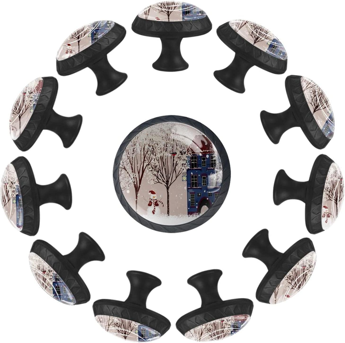 12 Max 47% OFF Charlotte Mall Packs Kitchen Cabinet Knobs Winter Tree Building Cart Snowman