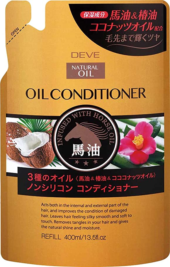 お風呂を持っているバイオレット高く熊野油脂 ディブ 3種のオイル コンディショナー(馬油?椿油?ココナッツオイル) 400ml