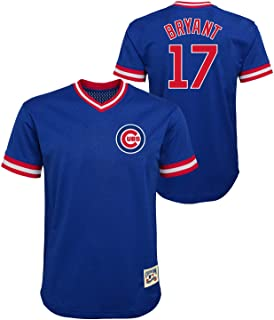 Kris Bryant Chicago Cubs #17 Blue Youth Cooperstown V-Neck Mesh Jersey