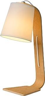 Lucide 06502/81/31 Nordic - Lámpara de mesa (E14, 20 x 43 cm, madera y pantalla), color blanco