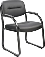 Office Factor Reception Room Executive Style Black Vinyl Guest Chair with Padded Seat, Back, Arms and Sled Base-Comfortabl...