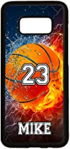 Galaxy S8 Case, ArtsyCase Thunder Water Fire Basketball Personalized Name Number Phone Case for Samsung Galaxy S8 (Black)