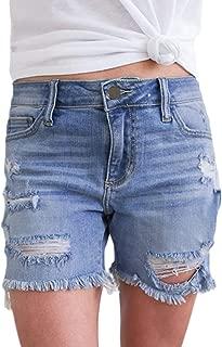 Women Casual Frayed Destroy Bermuda Denim Ripped Short Jeans