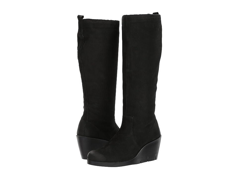 ECCO Bella Wedge Tall Boot (Black Cow Nubuck) Women